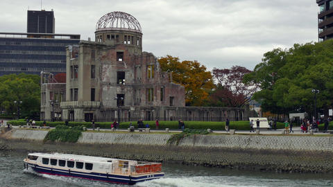Tourist Boat On River Near The Atomic Bomb Dome Hiroshima Footage