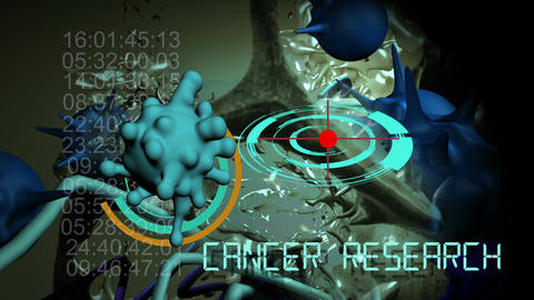 cancer cell and word CANCER RESEARCH Animation