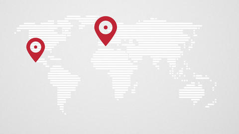 Abstract world map with red pin points CG動画素材