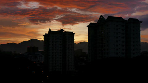 Dawn Time Lapse Behind Apartments Footage