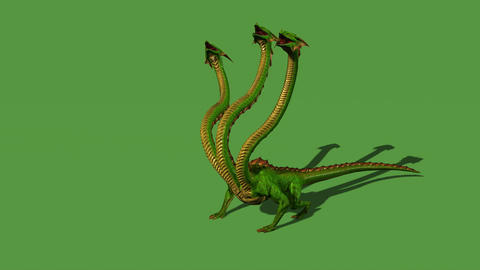 Hydra mystical water snake roars - isolated on green screen Animation
