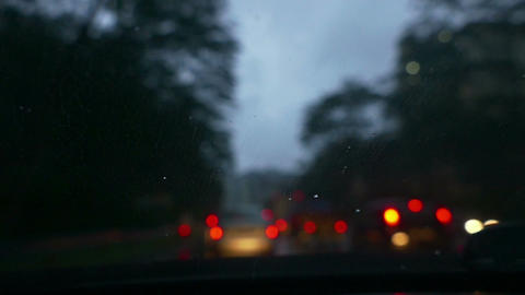 Rain On Windshield Of Car While Driving ภาพวิดีโอ