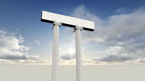 many ancient greek marble pillars with blue sky Animation
