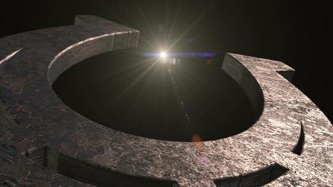 Old metal horseshoe with optical flare Animation