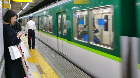 Underground Railway Station Train And People In Kyoto Japan Asia Footage