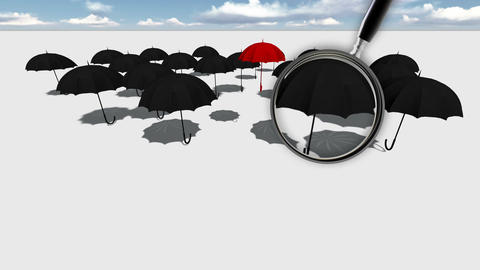 Close up of magnifying glass.Red umbrella Standing Out From The Crowd Animation