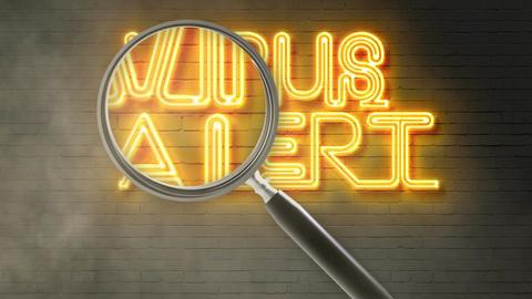 writing words ' VIRUS ALERT ' on bricks background and... Stock Video Footage
