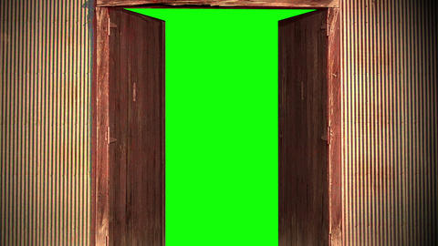 old wooden door opening to green screen Animation