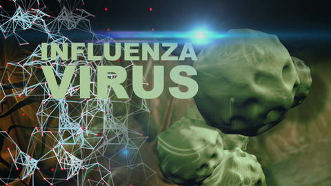 Illustration of Influenza Virus cells with optical flare in background Animation
