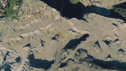 Aerial View of Open Pit Sand Quarries Footage