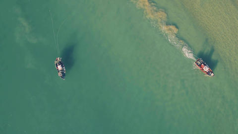 Fishing Ship Uses Trawl for Fishing Footage