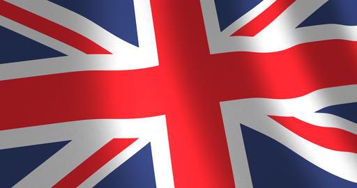 Flag United Kingdom moving wind Animation