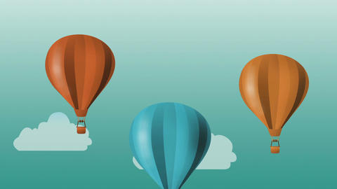 Colorful hot air balloons flying Animation