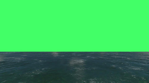flight over a water surface to green screen Animation