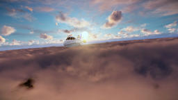 Cessna flying above clouds at sunrise Animation