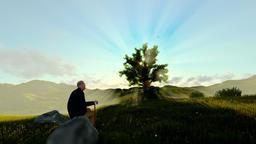 Grandfather on green meadow enjoying the sunrise, panning Animation