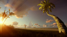 Tropical resort with yacht sailing and woman running on the beach at sunset Animation