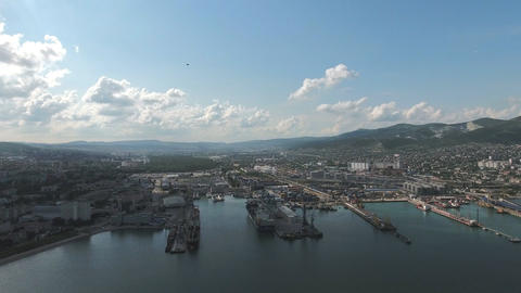Top view of the marina and quay of Novorossiysk Footage