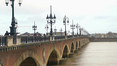 Famous Aquitaine bridge on Garonne river in France, beautiful view, cityscape Footage