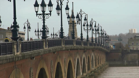 Gothic streetlights on Aquitaine bridge in Bordeaux, France, quiet European city Footage