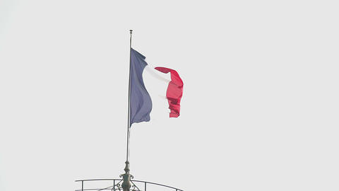 Tricolor flag of France waving in the wind, nation and freedom, patriotism Footage