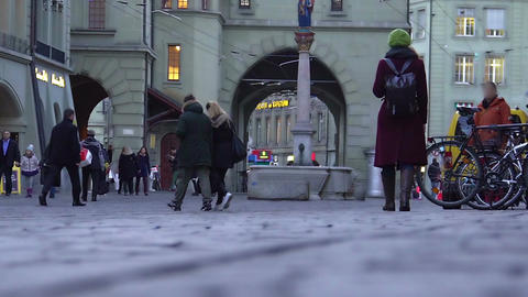 People strolling in central square of old European city, viewing landmarks Footage