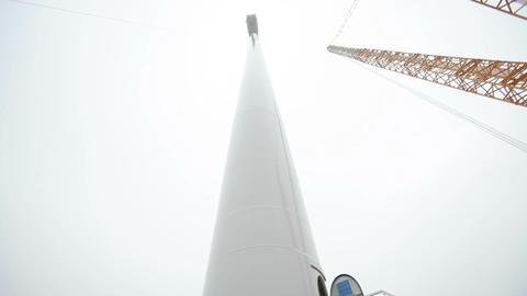 Wind Turbine Tower and a Crane Footage