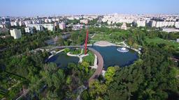 Aerial flight above Moghioros park, Bucharest, Romania Footage