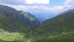 Aerial view of Bucegi mountains, near Omu peak, Romania Footage