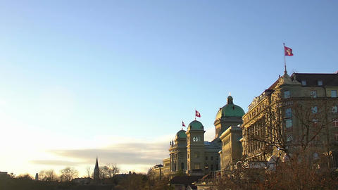 Majestic building of Swiss national parliament and government, public policy Footage