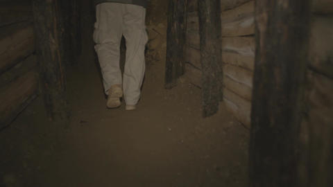 Walking inside old mine tunnel Footage