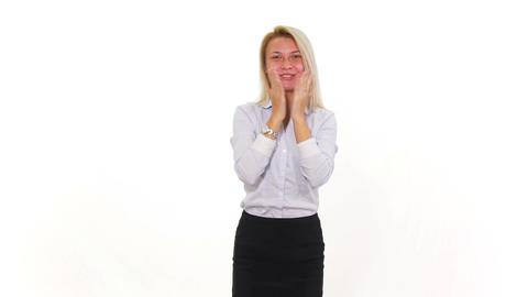 Beautiful young blonde female amazed Footage