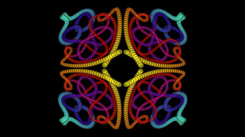 Ornamental patterns composed of multicolored beads, kaleidoscope effect, rotatin Animation