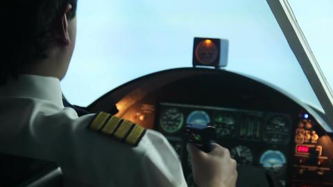 Aircraft hitting turbulence zone, professional pilot controlling plane, danger Footage