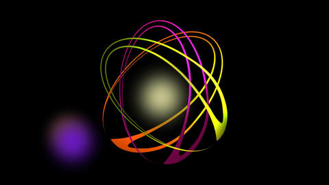 Video intro with vibrant rotating ovals and flickering lights, abstract animatio Animation