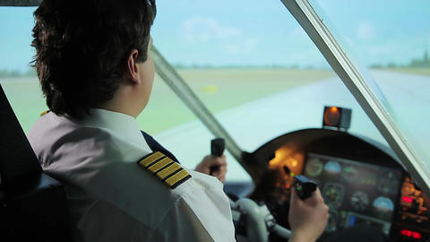 Successful takeoff from runway, pilot navigating aircraft, career in aviation Live Action