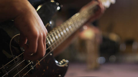 Hands of a Man Playing Electric Guitar Footage