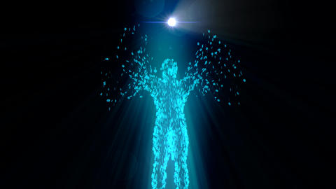 Binary Man With Orb Glowing Computer Internet Web Net Data 0 1 4K stock footage