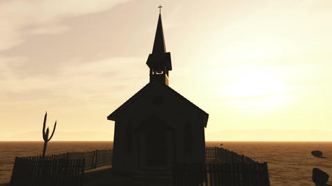 Old Wooden Christian Chapel in a Desert 1 Animation