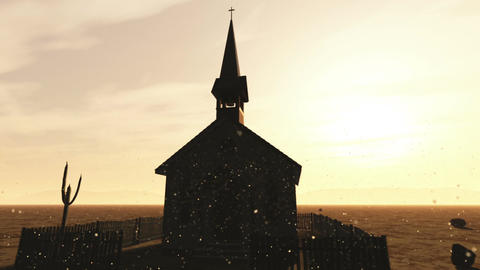 Old Wooden Christian Chapel in a Desert with Fireflies 1 Animation