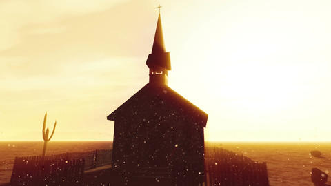 Old Wooden Christian Chapel in a Desert with Lightrays and Fireflies 1 Animation