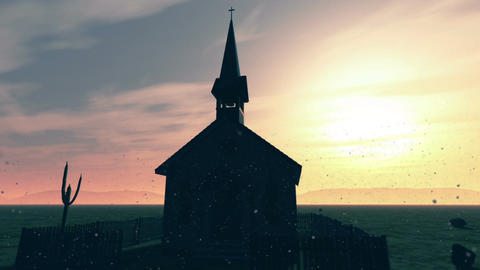 Old Wooden Christian Chapel in a Desert with Sinsiter Dust 1 Animation