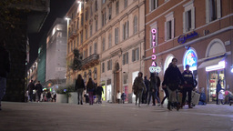Lots of people walking on a street in Ancona during the night 2678 Footage