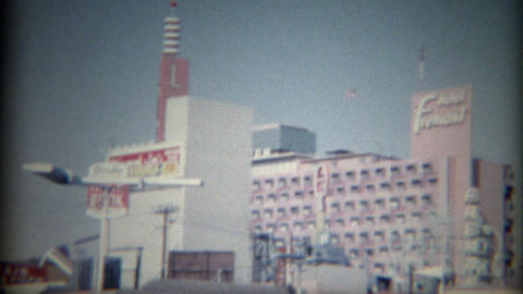 1965: Mint Hotel Casino Nevada Club parking Fremont Hotel skyline Live Action