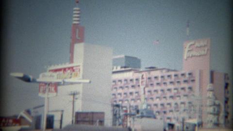 1965: Mint Hotel Casino Nevada Club Parking Fremont Hotel Skyline stock footage