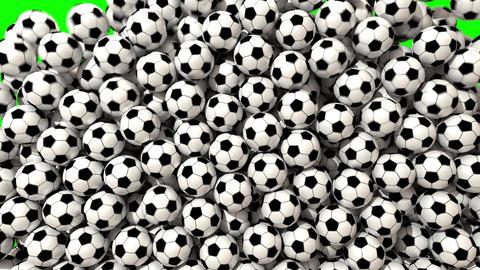 Soccer balls footballs fill screen transition composite overlay 4K Footage
