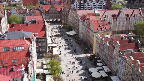 Gdansk, Poland. The Long Market In The Old Town, View From Above Footage