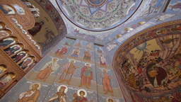 Vertical panorama inside an Orthodox church 65 Footage