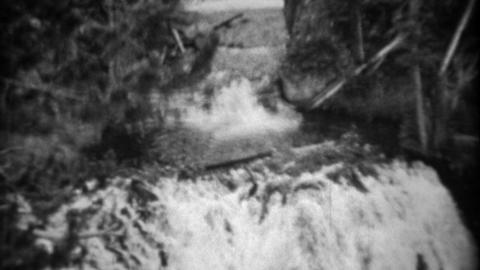 1937: Kepler Cascades waterfall high running fast tilt down follow river Footage