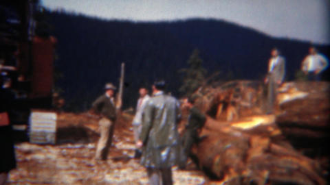 1949: Management visits logging operation of 1000 year old growth trees Footage